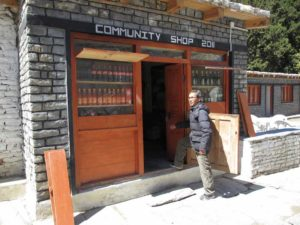 community shop in one of the higher altitude camps.